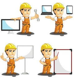 Industrial construction worker mascot 16 vector