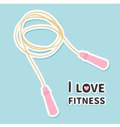 Skipping jumping rope i love fitness icon sport vector
