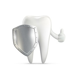 Human tooth holding metal shield vector