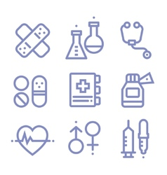 Contour simple medical icons set vector