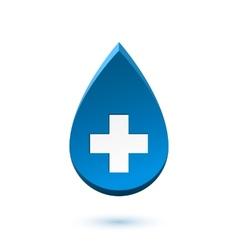 Abstract blue drop medical symbol vector