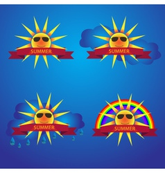 Summer sun icons with banner eps10 vector