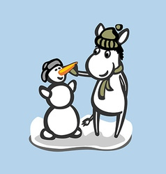 Fun donkey with snowman winter season vector