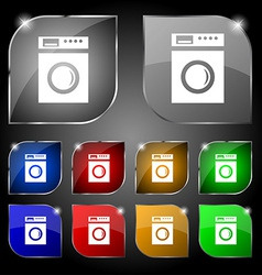 Washing machine icon sign set of ten colorful vector
