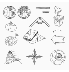Geography lesson school objects and educational vector