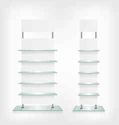 Shop glass shelves white vector