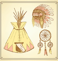 Sketch native american set in vintage style vector