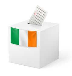 Ballot box with voting paper ireland vector