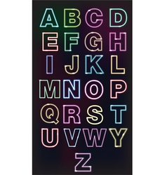 Neon glow alphabet design for the advertisement vector