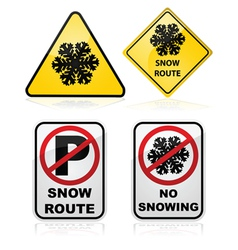 Snow route signs vector