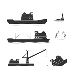 Silhouettes of cargo ships and floating crane vector