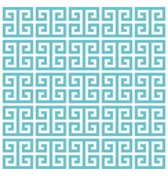 Greek key pattern background blue green vector