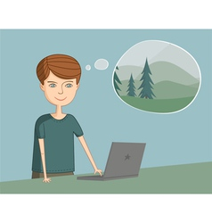 Man near the laptop thinks about vacation vector