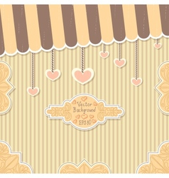 Cute vintage postcard for valentines day vector