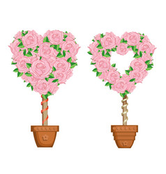 Hearts set of trees in pots vector