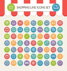 Market line icons vector
