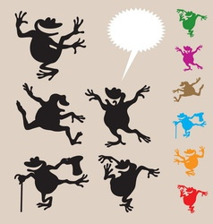 Frog dancing silhouettes 2 vector