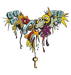 Colorful grunge grafitti vector