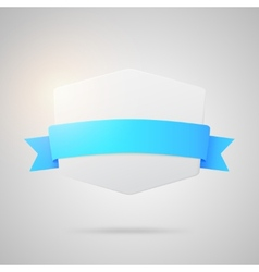 Paper badge with blue silk ribbon vector