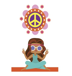 Print with cute hippie girl vector