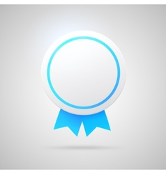 Round award with blue ribbons vector
