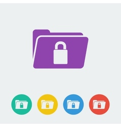 Folder lock flat circle icon vector