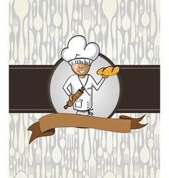 Baker chef cartoon menu badge vector