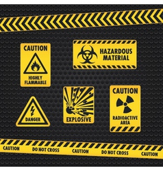 Hazard warning tape and labels vector