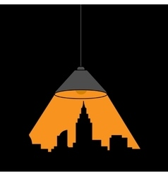 Lamp and outline of the city vector