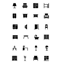 Furniture solid icons 2 vector