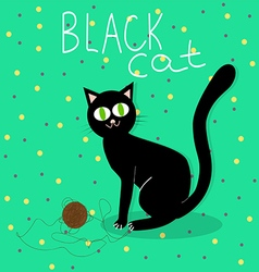 Black cat plays with wool ball vector