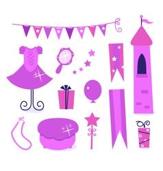Princess party elements vector