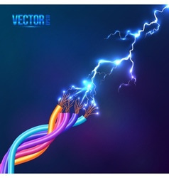 Electric lightning between colored cables vector