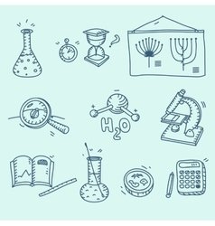 Science icons set school laboratory chemistry vector