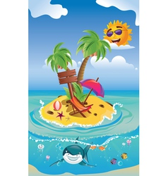 Shark and tropic island2 vector