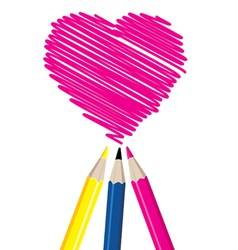 Three pencils drawing heart shape vector