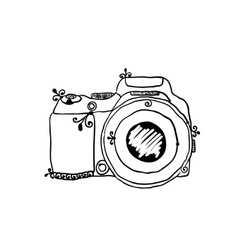 Sketch of a photo camera drawn by hand vector