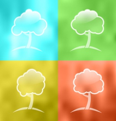 Four seasonal icons with trees - vector