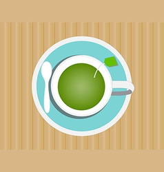 Green tea in glass vector