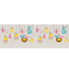 Seamless horizontal border with hanging eggs vector