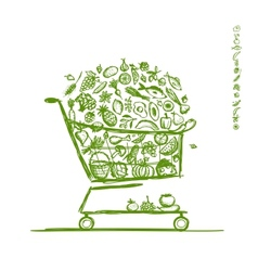 Shopping cart with healthy food for your design vector