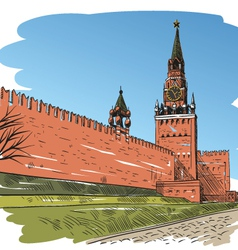 Moscow red square drawing vector