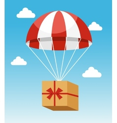 Red and white parachute holding delivery box vector