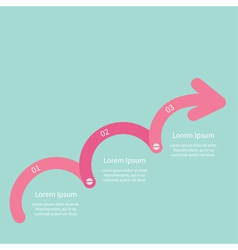 Three step pink upwards arrow with screw timeline vector