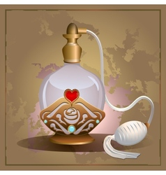 Perfume heart bottle vector
