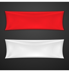 Red and white textile banner set vector