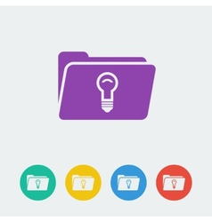 Folder lamp flat circle icon vector
