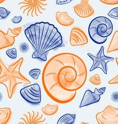Seashell summer seamless pattern vector