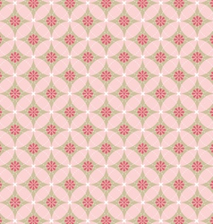 Pink flower in circle seamless pattern vector