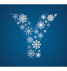 Letter y font frosty snowflakes vector